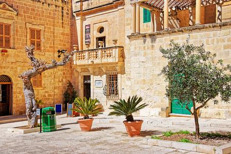 Mdina, Malta - April 4, 2014: Misrah Mesquita square in Mdina, Malta