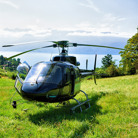 montreux: Helicopter in Lavaux, Lavaux-Oron district of Switzerland. Geneva Lake on the background Stock Photo