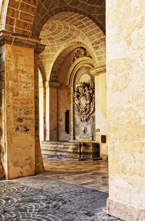 Valletta, Malta - April 1, 2014: Courtyard of Grandmaster palace, Valletta, Malta