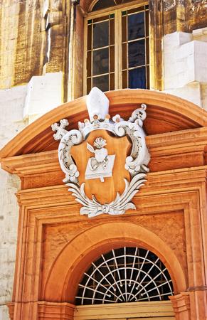 Decoration at the doorway in Valletta old town, Malta