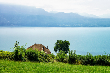 montreux: Chalet near Lavaux Vineyard Terraces hiking trail, Lake Geneva and Swiss mountains, Lavaux-Oron, Switzerland