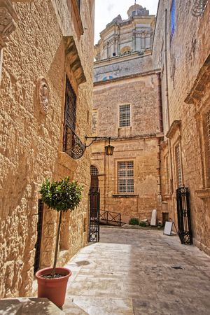 Street view on St aul Cathedral in Mdina, Malta