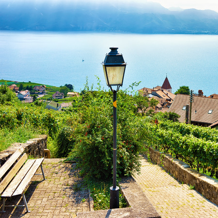 Wooden bench and lantern at Lavaux Vineyard Terraces hiking trail, Lake Geneva and Swiss mountains, Lavaux-Oron district, Switzerland