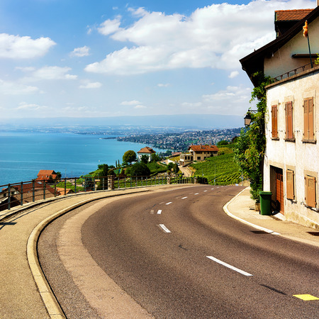 Road to Lavaux Vineyard Terraces hiking trail, Lake Geneva and Swiss mountains, Lavaux-Oron district of Switzerland