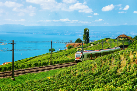 Running train at the railroad in Lavaux Vineyard Terraces hiking trail at Lake Geneva and Swiss mountains, Lavaux-Oron district, Switzerland