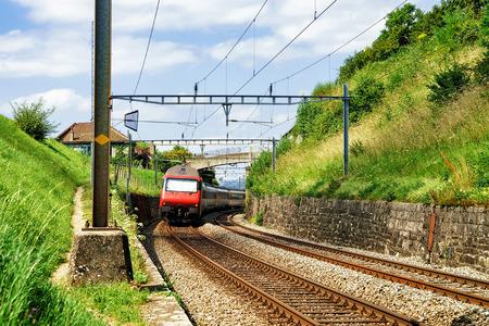 Running train at the railroad, Lavaux Vineyard Terraces hiking trail, Lavaux-Oron district, Switzerland