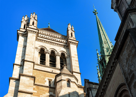 Spire of St Pierre Cathedral in the old town of Geneva, Switzerland