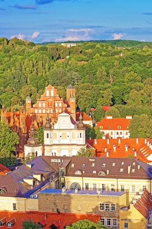 Aerial view on Church of Saint Anne and Church of St Bernard and old town of Vilnius, Lithuania