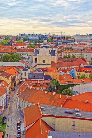 Holy Spirit Church and roof tops in old town in Vilnius, Lithuania