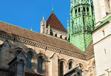 church steeple: Fragment of St Pierre Cathedral in the old town of Geneva, Switzerland