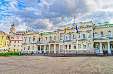Presidential Palace in Vilnius old town, Lithuania. People on the background
