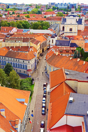 Holy Spirit Church and roof tops in old town of Vilnius, Lithuania
