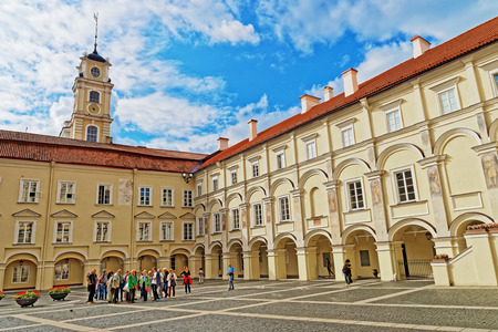 Vilnius, Lithuania - September 3, 2015: People at Courtyard and Observatory tower of Vilnius University, Vilnius, Lithuania Editorial