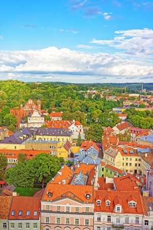 Aerial view on Church of St Anne and Church of Saint Bernard and old town in Vilnius, Lithuania