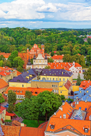 Aerial view on Church of Saint Anne and Church of St Bernard and old town in Vilnius, Lithuania