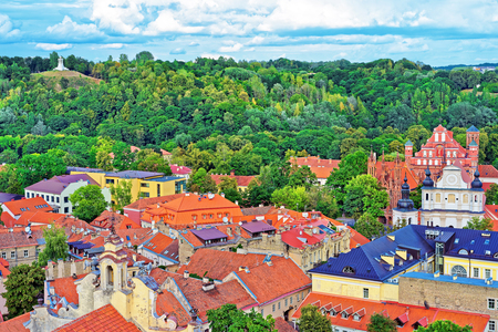 Aerial view on Church of St Anne and Church of St Bernard and old town of Vilnius, Lithuania