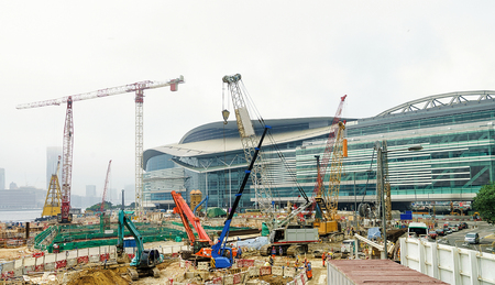 Construction site with workers in the center of Hong Kong