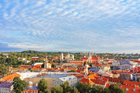 Roof top view of old town of Vilnius with churches towers and Town Hall, Lithuania