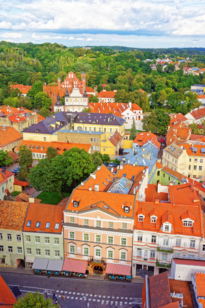 Aerial view on Church of St Anne and Church of Saint Bernard and old town of Vilnius, Lithuania
