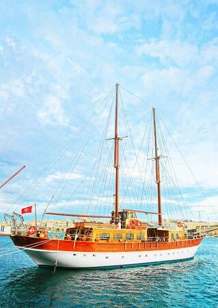 Ship at Grand Harbor in Valletta, Malta