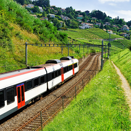 wine road: Running train at Vineyard Terraces hiking trail of Lavaux, Lavaux-Oron district, Swiss Stock Photo
