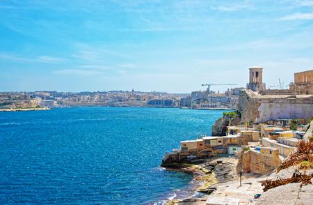 Siege Bell memorial at St Christopher bastion at Grand Harbor, Valletta, Malta