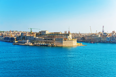 seafronts: Senglea and Creek at Grand Harbor in Valletta in Malta. Seen from Upper Barracca public Gardens.