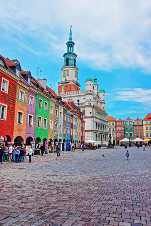 poznan: Poznan, Poland - May 7, 2014: People at Old Town Hall at Market Square in the city center of Poznan, Poland Editorial
