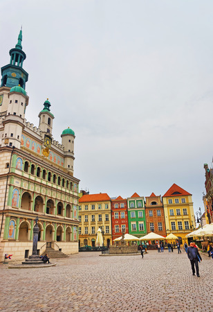 central european: Poznan, Poland - May 6, 2014: People at Old Town Hall on Old Market Square in the city center, of Poznan, Poland Editorial
