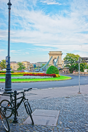Bicycle and Szechenyi Chain Bridge in Budapest, Hungary
