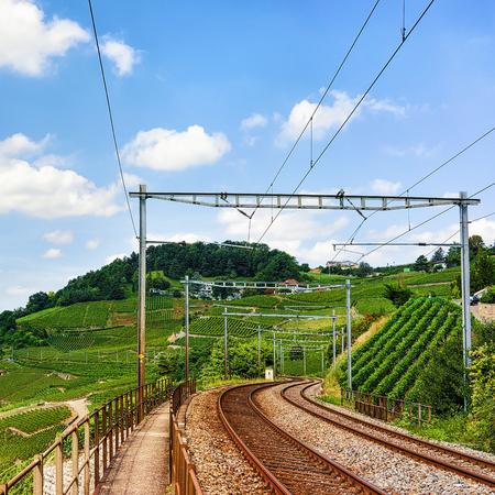 montreux: Railway line, Lavaux Vineyard Terraces hiking trail, Lavaux-Oron district, Switzerland Stock Photo