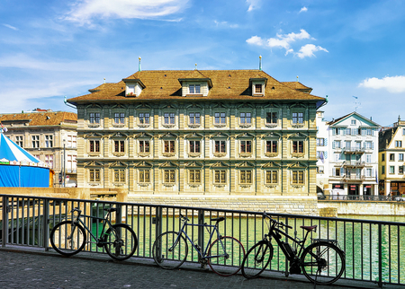 Bicycles at Old Town Hall in River Limmat in Zurich, Switzerland