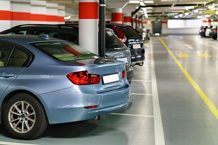 Underground Parking garage with cars at Zermatt train station Foto de archivo