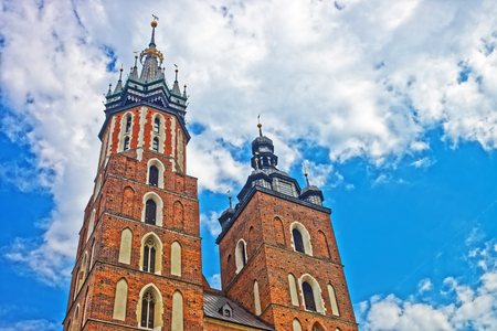 St Mary Basilica on the Main Market Square in Krakow, Poland