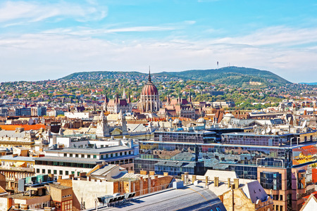 Panoramic view on Hungarian Parliament house and Budapest city center, Hungary