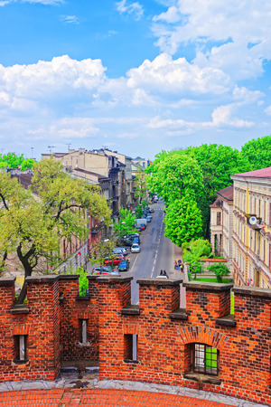 old brick wall: Krakow, Poland - May 1, 2014: View on city center from Defensive walls of Wawel Castle, Krakow, Poland Editorial