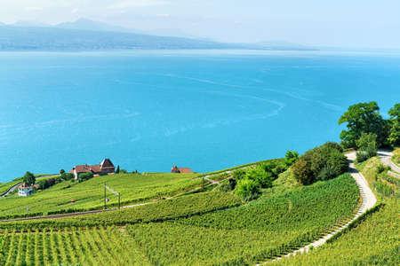 Railway line on Lavaux Vineyard Terraces hiking trail, Lake Geneva and Swiss mountains, Lavaux-Oron district of Switzerland Stock Photo