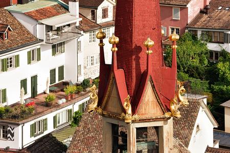 church steeple: Fragment of Water Church in Zurich, Switzerland