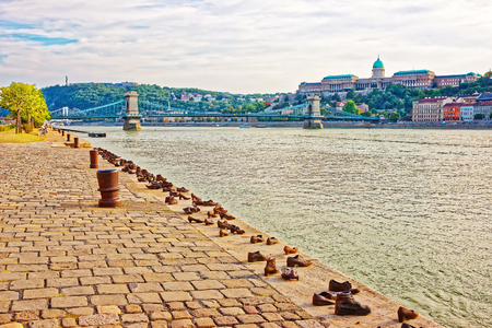 Holocaust Memorial, Buda Castle and Chain Bridge over Danube River in Budapest, Hungary Stock Photo