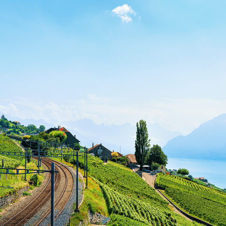 Railway line in Lavaux Vineyard Terraces hiking trail, Lake Geneva and Swiss mountains, Lavaux-Oron district, Switzerland Stock Photo