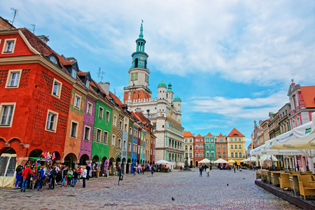 central european: Poznan, Poland - May 7, 2014: People at Old Town Hall at Old Market Square in the city center of Poznan, Poland