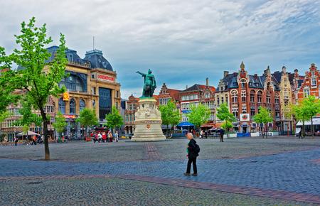 Ghent, Belgium - May 10, 2012: Vrijdagmarkt Square with people in Ghent in East Flanders, Belgium. Editorial
