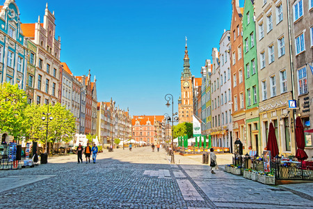 Gdansk, Poland - May 8, 2014: Old City Hall and Dlugi Targ Square in the old city center in Gdansk, Poland. People on the background. Publikacyjne