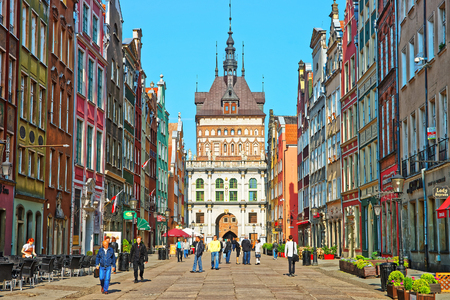 Gdansk, Poland - May 8, 2014: Golden gate and Prison Tower on Dluga Street in the old city center of Gdansk, Poland. People on he background Editorial