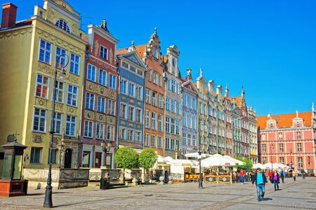 Gdansk, Poland - May 8, 2014: People on Long Market Square in the old city center in Gdansk, Poland.