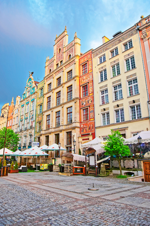 Gdansk, Poland - May 7, 2014: Historical buildings at Long Market Square in Gdansk, Poland. Publikacyjne