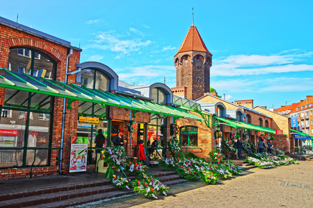 Gdansk, Poland - May 8, 2014: Street market at St Hyacinth Tower in Gdansk, Poland