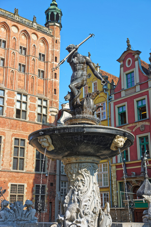 Neptune Monument on Long Market Square in the old city center of Gdansk, Poland Stock Photo
