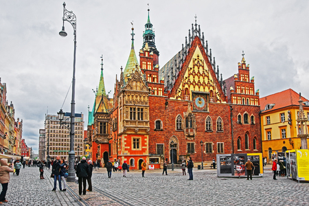 Wroclaw, Poland - May 3, 2014: Old Town Hall of the Salt Square in Wroclaw, Poland. People on the background