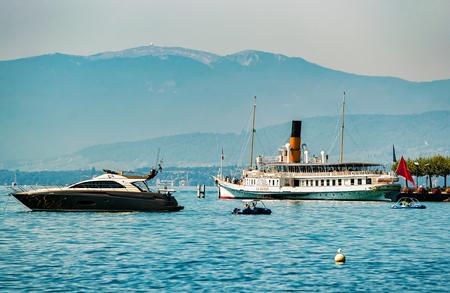 Lausanne, Switzerland - August 26, 2016: Ships on Lake Geneva in Lausanne, Switzerland.